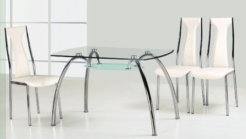 Lilly (D637) Glass Top Table & 4 Chairs