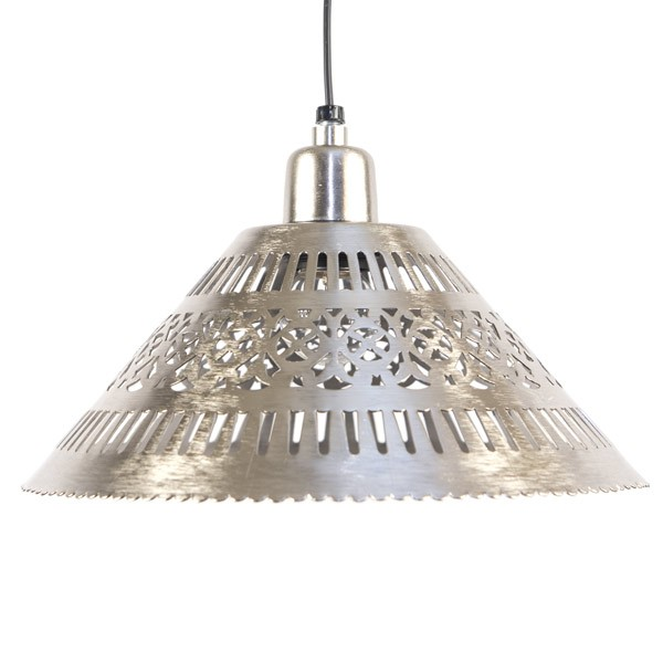 Pierced Nickel Hanging Lamp