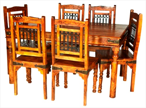 JAIPUR DECO ACACIA WOOD RUSTIC TABLE & 6 CHAIRS